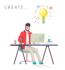 Man works on computer. Designer. Creative process. Business, office work, workplace. Flat design vector illustration.