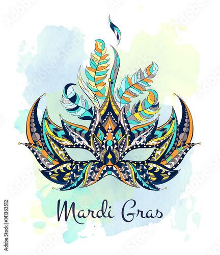 Patterned mask on the grunge background mardi gras for Mardi gras mask tattoo