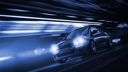 Schnelles Auto bei Nacht in einer Stadt
