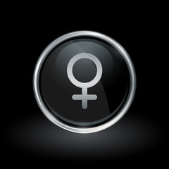 Female gender symbol with Ladies icon inside round chrome silver and black button emblem on black background. Vector illustration.