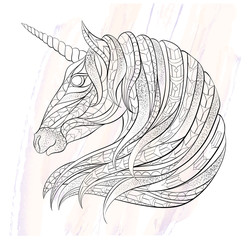 Patterned head of the unicorn