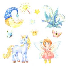 set of stickers for nursery, Kindergarten or Bedroom child. Watercolor illustration