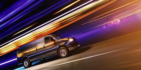schneller Transporter bei Nacht in einer Stadt