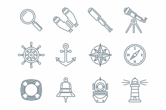 Морские иконки и пиктограммы оптических приборов