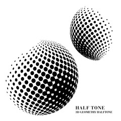Half tone gradient 3D black geometry round dot sphere ball