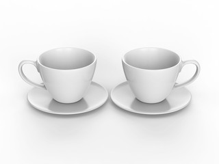 3D illustration two white cup and saucer