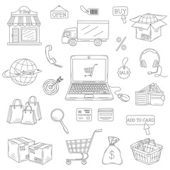 Vector set of hand drawn e-commerce icons set