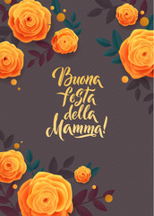 Mother s Day greeting card. Confetti and Rose Floral Background. Italian Text