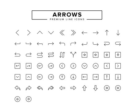 Arrows line icon set