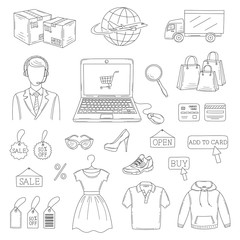 Vector set of hand drawn online shopping icons