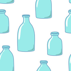 Seamless pattern with empty milk bottles. Hand-drawn style.