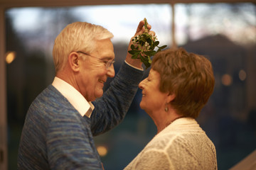 Romantic senior couple holding mistletoe