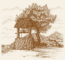 Vector image. Flowering tree near the well