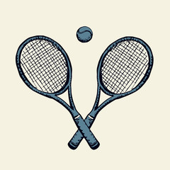 Tennis racket and ball. Vector drawing