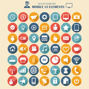 Mobile ui elements, vector set of flat style icons, business technology, mobile phones and tablet pc