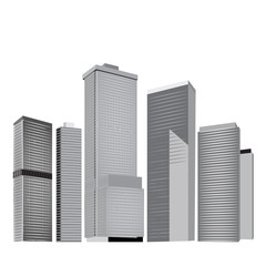 City skyline in grey colors.