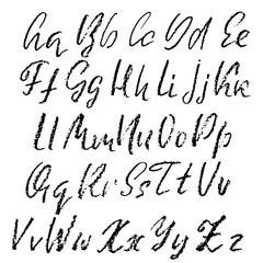 Hand drawn font made by dry brush strokes. Grunge style modern alphabet. Handwritten font. Vector illustration.