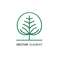 Line style vector logo with tree - farming and ecology concept on white background. V