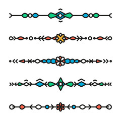 Decorative hipster geometric colorful dividers isolated