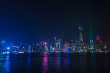 Symphony of light at Victoria harbour at night in Hong Kong
