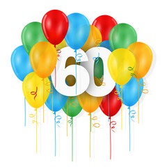 HAPPY 60th BIRTHDAY / ANNIVERSARY card with bunch of multicoloured balloons