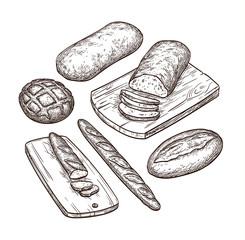 Hand drawn bread set.