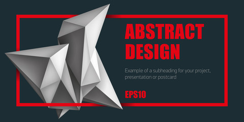 Volume geometric shapes, 3d crystals. Abstract low polygons object composition. Bright red frame. Vector design form