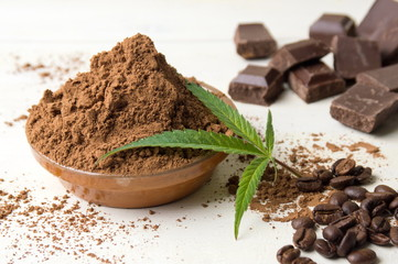 Cacao powder in a bowl, chocolate pieces and coffee
