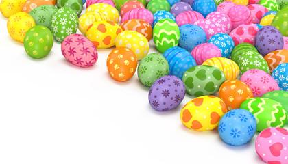 3d render illustrations. Easter eggs on a white background.