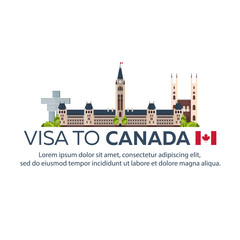 Visa to Canada. Document for travel. Vector flat illustration.