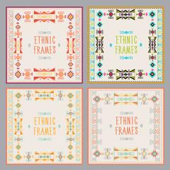 Ethnic Frames Vector Set. Tribal Vector. Navajo Stile Frame Set. Tribal Vintage Ethnic Ornament Set. Hand Drawn Ethnic Frame. Frames Space For Text. For Invitations, Announcements.