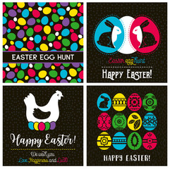 Easter greetings cards with color easter eggs, hen, flowers and rabbit.Ideal for printing onto fabric and paper or scrap booking, vector illustration