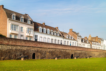 Ancient white houses in the Dutch city of Maastricht