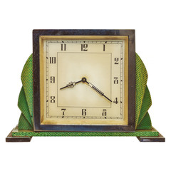 Vintage art deco alarm clock isolated on white