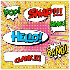 Papiers peints Pop Art Abstract creative concept vector comic pop art style blank, layout template with clouds beams and isolated dots background. For sale banner, empty speech bubble set, illustration halftone book design.