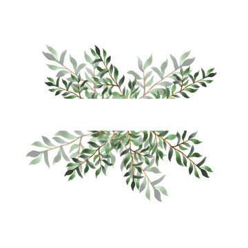 Abstract green leaf border on white background. Design for wedding invitation or greeting card.Hand drawn watercolor vector illustration.