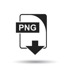 PNG icon. Flat vector illustration. PNG download sign symbol with shadow on white background.