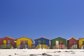 Colourful beach huts on the beach in Muizenberg, South Africa