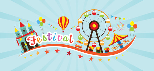 Festival Typeface with objects and Icons, Theme Park, Amusement Park, Fun Fair