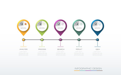 Vector infographics timeline design template with label and icons, 5 options or steps. Can be used for content, business, process infographics, diagram chart, flowchart, process diagram, time line