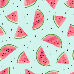 Seamless watermelon pattern. Vector summer background with watercolor watermelon slices.