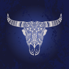 Buffalo Skull Native American Totem witg geometry pattern