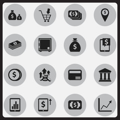Set Of 16 Editable Banking Icons. Includes Symbols Such As Salary, Edifice, Bucks And More. Can Be Used For Web, Mobile, UI And Infographic Design.