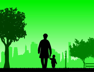 Grandmother walking with her grandson in the park, one in the series of similar images silhouette