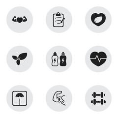 Set Of 9 Editable Fitness Icons. Includes Symbols Such As Leaf In Heart, Strong Love, Weight Measurement And More. Can Be Used For Web, Mobile, UI And Infographic Design.