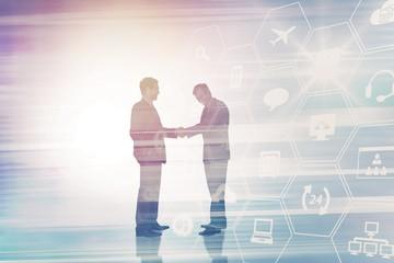 Composite image of businessmen shaking hands 3d