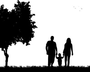 Family walking with their child in park, one in the series of similar images silhouette
