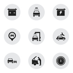 Set Of 9 Editable Transport Icons. Includes Symbols Such As Battery, Automotive Fix, Pointer And More. Can Be Used For Web, Mobile, UI And Infographic Design.