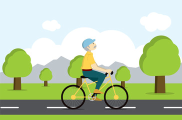 Active senior on bicycle. Old age tourist.