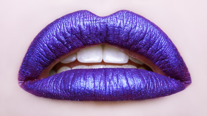 Passionate lips. Beautiful makeup close up. Opened mouth. Macro photography, small depth of field